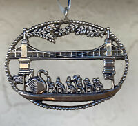 Vintage Sterling Silver Swan Boat in Boston Christmas Ornament ~ c H & H