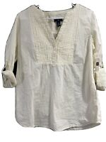 Gap Womens Button Down V Neck Shirts Long Sleeve Blouse Roll Up, Ivory, SZ Large