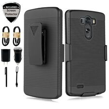 Bundle+ LG G3 Holster HD Screen Rugged Armor Belt Clip Kickstand Case Cover