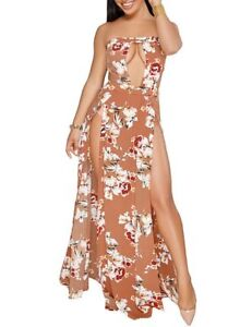 Floral Bandeau Front Split Maxi Keyhole Dress in Small and Medium