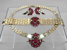 Antique Designer Trifari Gold Cranberry Red Necklace Bracelet Earring Parure Set