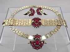 Antique Designer Trifari Gold Cranberry Red Necklace Bracelet Earring Parure Set
