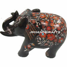 "12"" Black Marble Wealth Elephant Statue Malachite Inlay Mosaic Home Decor Gift"