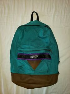 JANSPORT Backpack Vtg 90s Leather Bottom School Book Bag Green Zip Top