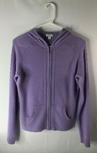 Apt. 9 women's M 100% cashmere violet sweater full front zip hood long sleeves