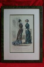Gravure de mode encadrée - Journal des demoiselles - 1880