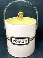 "Vintage Cera ""Name Your Poison""  Ice Bucket Bakelite Plastic Handle & Gold Skull"
