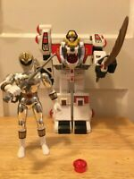 "Bandai Power Rangers 1994 White Tigerzord (Tested) and 8"" White Ranger Saba"