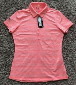 New Under Armour Golf Fitted Heatgear Pink Polo Shirt Women's Size Medium