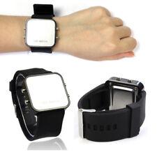 Men Women LED Watch Calendar Day/Date Silicone Mirror Face Wrist Watch Black