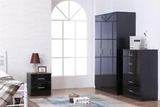 REFLECT High Gloss Black / Black 3 Piece Bedroom Furniture Plain Set Soft Close