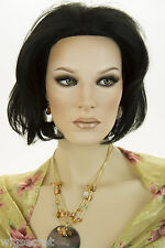 Black Brunette Short Human Hair  Monofilament Hand Tied Straight Wigs