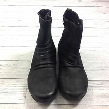 Earth Treasure Boots Womens Size 11 Black Ankle Boots Low Heel Side Zip Up NEW