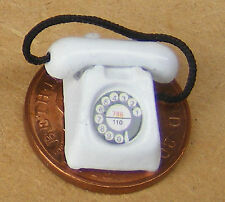 1:12 Scale White Painted Old Style Rotary Telephone Dolls House Accessory Phone