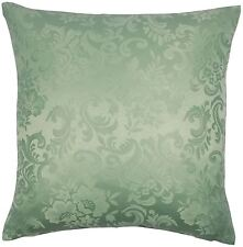 "FILLED JACQUARD FLORAL DAMASK GREEN 18"" 45CM CUSHION TO MATCH CURTAINS"