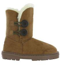 Ella Fur Lined Twin Button Mid Calf Bootee Flat Womens Rita Winter Fleece Boots