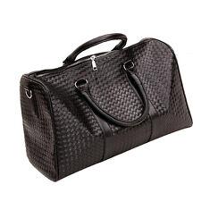 Fashion Mens Womens PU Leather Travel Bag Tote Duffel Handbag Bag