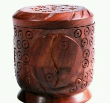 "Yin-Yang Wooden Incense Cone Burner Jar with Lid - 2.25"" tall"