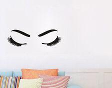 Vinyl Wall Decor Decal For Beauty Salon Close-Eyed Girl Bedroom Art Wall Sticker