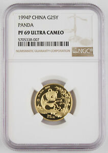 1994 P China 25 Yuan 1/4 oz 999 PROOF Gold Panda Coin NGC PF69 Ultra Cameo RARE