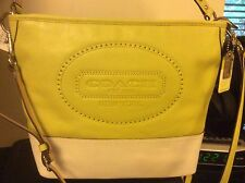 NWT COACH HAMPTON CITRINE PARCHMENT WEEKEND LEATHER PERFORATED BAG 19393