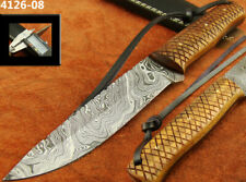 SUPERB HANDMADE DAMASCUS KNIFE HUNTING BOWIE HUNTING KNIFE W/SHEATH (4126-8