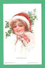 "SCARCE HARRISON FISHER CHRISTMAS ""MISS SANTA CLAUS"" POSTCARD PRETTY LADY MASK"