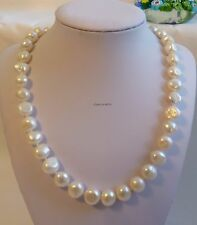 Silver Genuine 11-12mm baroque freshwater pearl Necklace white L46cm