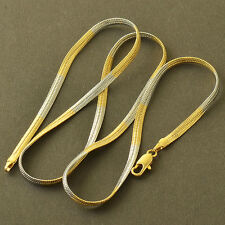 Fashion Yellow White Gold Filled Womens Mens Herringbone Snake Chain Necklace