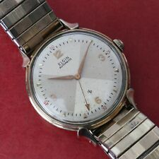 Vintage 60's Rare Elgin Bumper Automatic Watch Cal 607 Red Arrow Second Hand