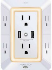 POWRUI 3-Sided Surge Protector USB Wall Charger with Night Light  Adapter Spaced