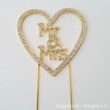 Diamante Heart Mr & Mrs GOLD, Wedding, Anniversary Cake topper, floristry craft