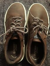 f4195409829 Boys Ollie Brown Sperry Top Sider Leather SNEAKERS Shoes Lace up Size 4