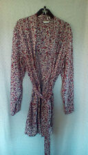 M&S Ladies Red Floral Knee Length Lightweight Belted Dressing Gown, size 12 / 14