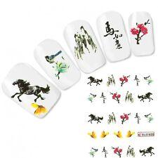 TATTOO unghie Sticker Adesivo Butterfly GIAPPONE CAVALLO HORSE NAIL ART UNGHIE PIEDI