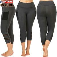Plus Size Women's High Waist Mesh Leggings Running Sports Fitness Gym Yoga Pants