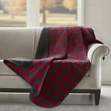 """Cozy 100% Cotton Red Gingham Check reverse to Black Quilted Throw Blanket 50x70"""""""