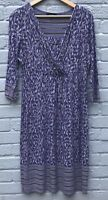 Per Una Size 14 Blue Leaf Print Wrap Front Stretch Dress