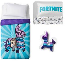 FORTNITE LLAMA TWIN BED IN BAG Comforter Blanket Pillow Case Flat Fitted Sheet
