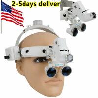 USA Headband Dental Loupes 3.5x420mm 3W LED Light Spot Adjustable CV-289