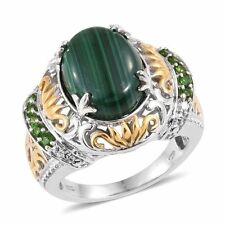 Ring Size 9 African Malachite, Russian Diopside 14K YG and Platinum Over Sterlin