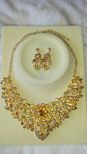 AB Diamante crystal Necklace & earrings set wedding prom new set H
