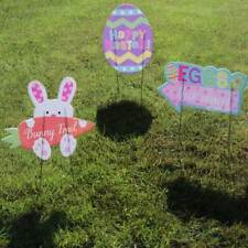 Easter Egg Hunt Party Game Garden Lawn Signs Bunny Trail Decoration x 3