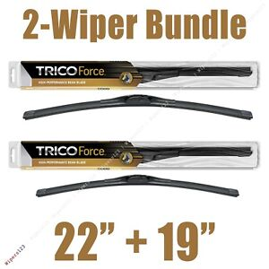 """2-Wipers: 22"""" + 19"""" Trico Force All-Season Beam Wiper Blades - 25-220 25-190"""