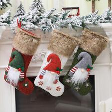 Christmas Stocking Fabric Sock Santa Elk Candy Gift Bags Xmas Tree Hanging Decor