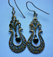 Vintage Bronze Onyx Earrings