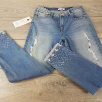 The Ventures Apparel Ladies Ripped Jeans Denim Joggers BLUE SIZE Medium B322-19