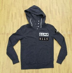 Glamour Kills Full Zip Hoodie Sweatshirt Jacket ~ Women's Medium M ~ Gray