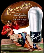 1930's Cunningham Radio Tubes Die Cut Store Counter Standup Sign Football