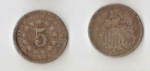 USA   Shield Nickel  5 cents 1867 no rays